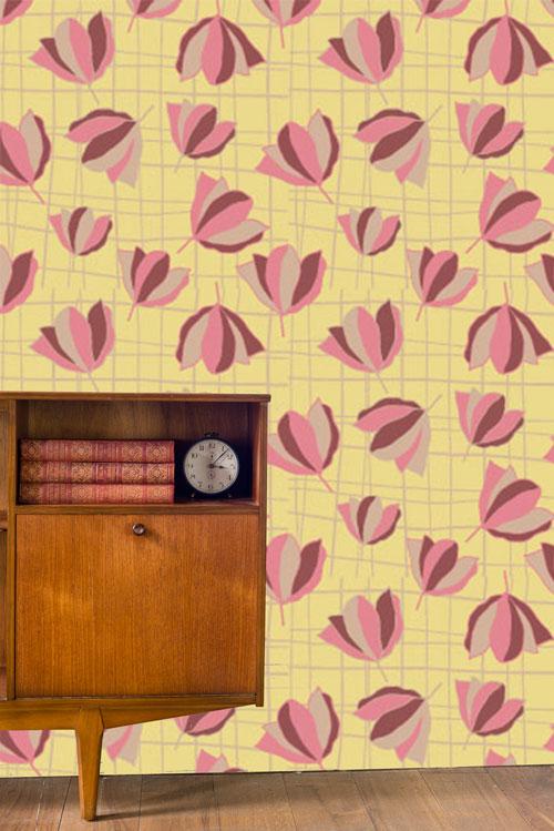 living room flower wallpaper
