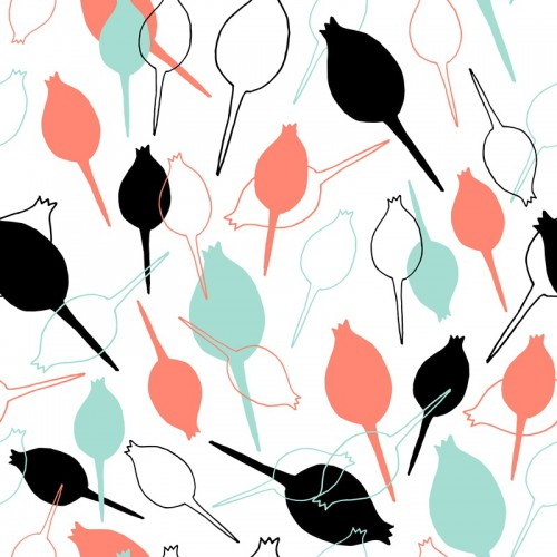 spoonflower coral mint black white