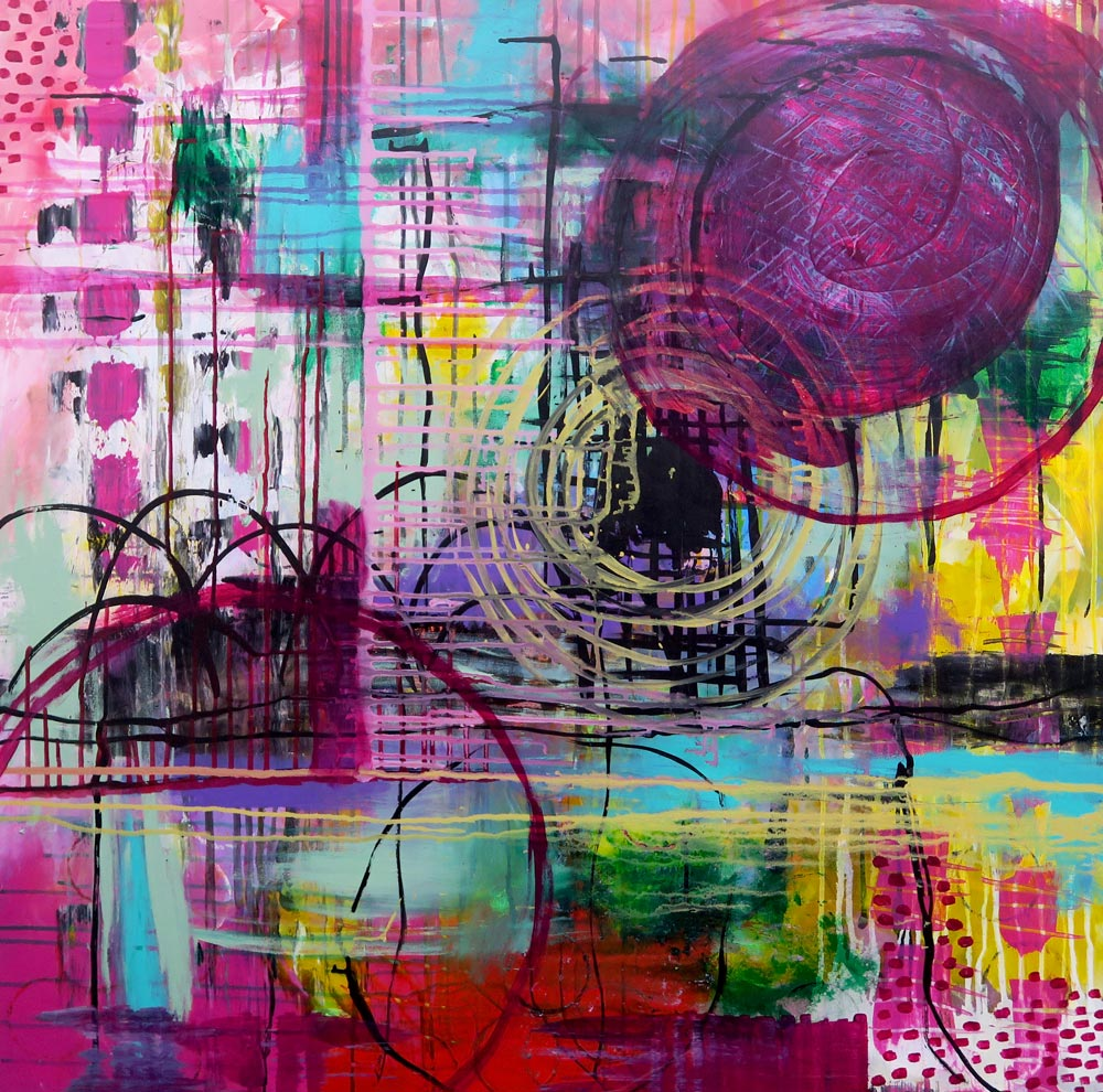 City Life 100x100cm, collaboration with Doris Reske