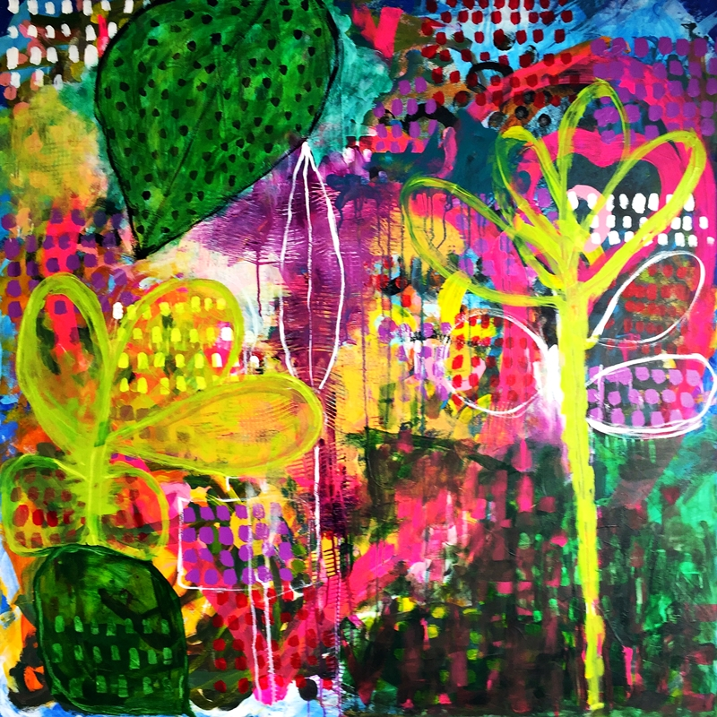 my happy jungle 100x100cm